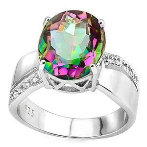 Jewelry - Genuine Mystic Topaz & Diamond 925 Silver Ring